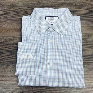 Charles Tyrwhitt White & Blue Check Shirt 17.5